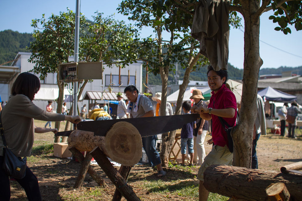 Kanna Fall Art Festival 2014 Log Sawing