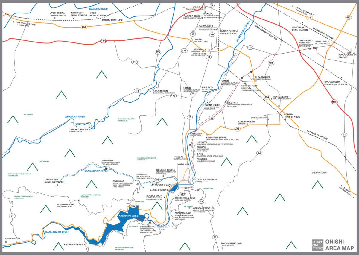Map of Onishi Fujioka Japan English Art Residency and Kamimachi Kannagawa Map