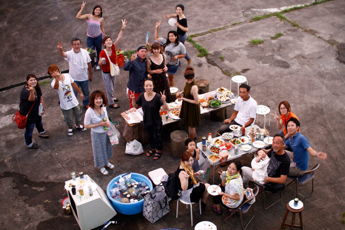 Neighborhood barbecue in Onishi Japan