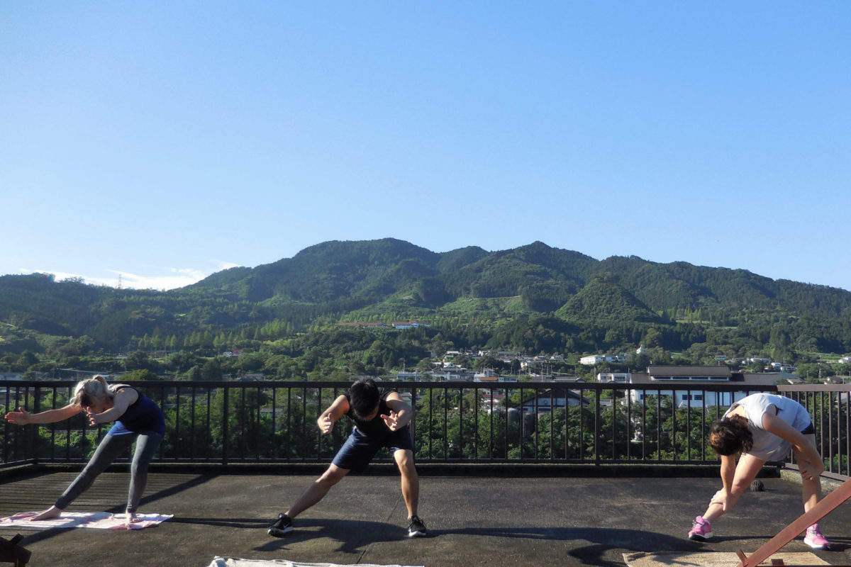 Working out on the Art residency roof in Onishi Japan