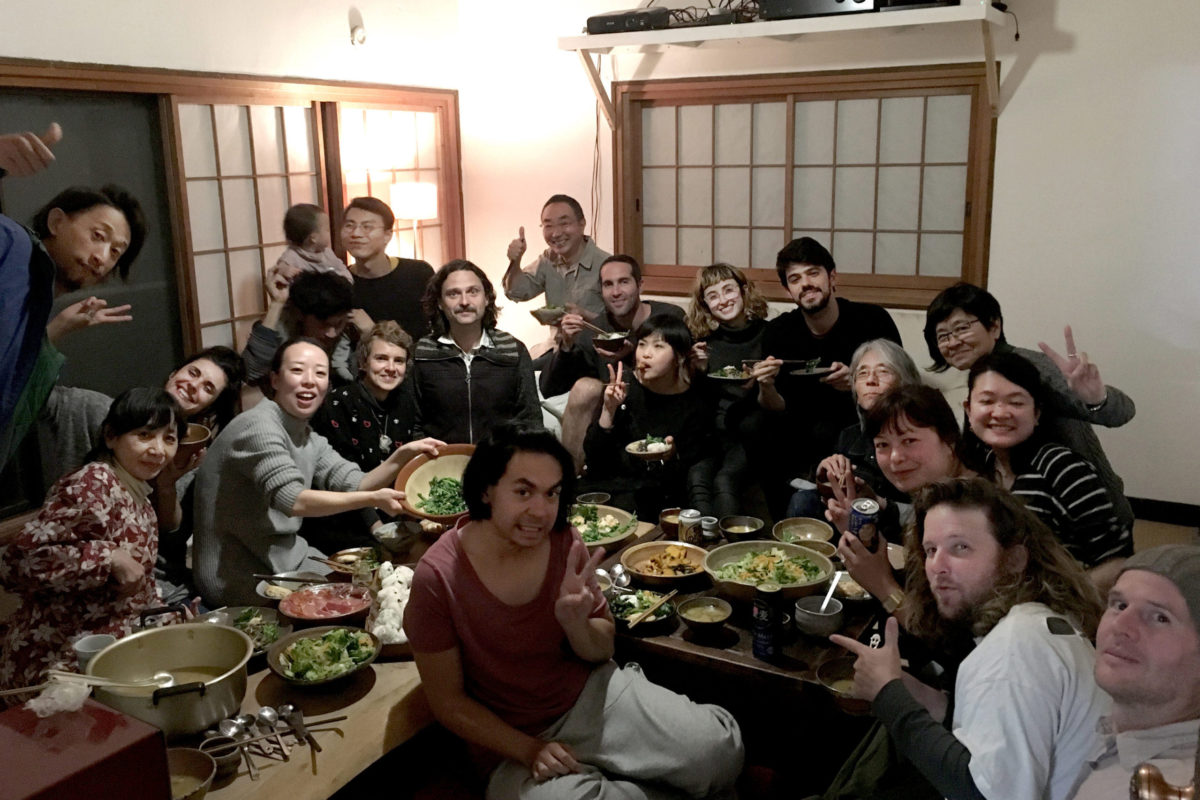 Artists sharing a meal together at Shiro Oni Studio Art Residency Japan