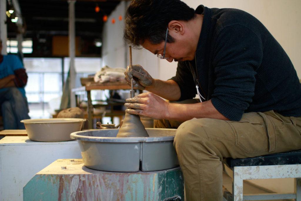 Japanese artist Takeshi Tanaka giving a ceramics workshop at Shiro Oni Studio art Residency
