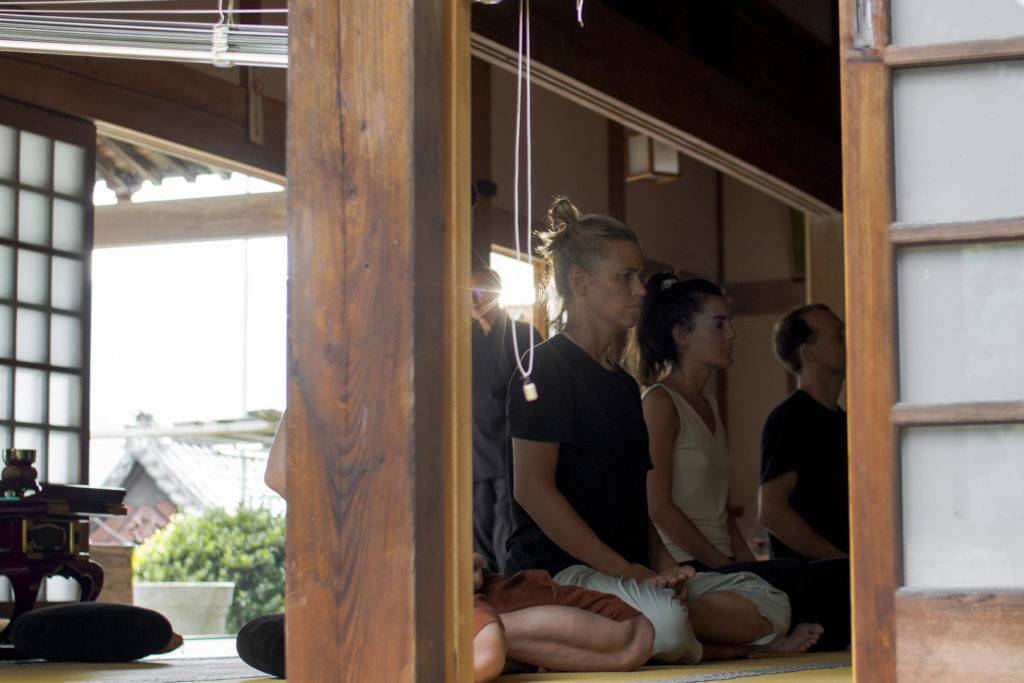 Artists studying Zen Meditation at Kongoji temple in Onishi, Japan